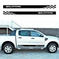 2 PC Gradien racing styling t side stripe graphic Vinyl sticker for Ford ranger wildtrak 2012 2013 2014 2015 2016 sticker
