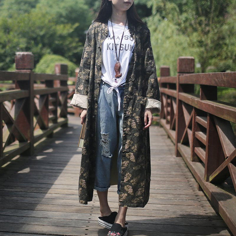 Spring Coat Long Trench Coat Chinese Windbreaker Leaves Print Mandarin Collar Cotton Linen Women Trench Coat Autumn Overcoat