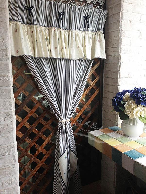 Livraison gratuite cerise rayé arc volant rustique porte rideau cuisine rideaux pour salon chambre stores 90*180 cm personnalisé