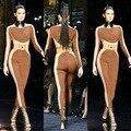 Moda Sexy Patchwork Macacões Rompers Womens Jumpsuit Bodycon Bodysuit Elegantes de Manga Longa Para As Mulheres MC5108
