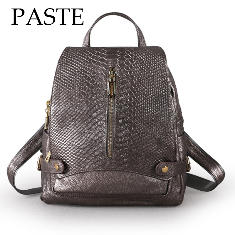 2018 PASTE Crocodile Pattern Cowhide Leather Backpack Women Anti theft Design Daypack Snake School Backpack for