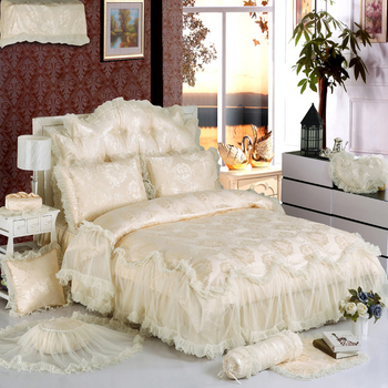 Biege White Lace Princess Luxury Bedding Set King Queen Full Twin Size Silk Cotton Jacquard Duvet Cover set Bed skirt Bed 36