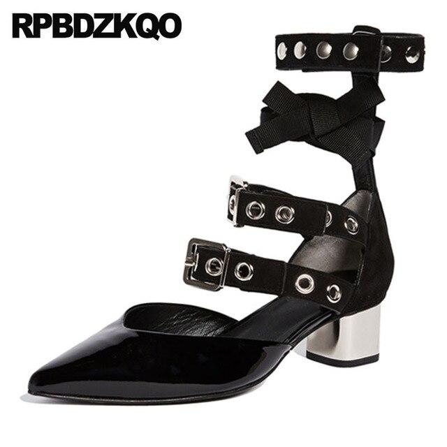 6012f79b3c Sandálias de cetim preto tamanho 4 34 pedaços saltos baixos sapatos couro  patente verão gladiador correias pontas moda toe tiras metal