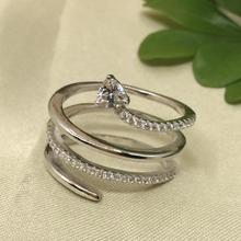 Real Pure 925 Sterling Silver Snake Rings For Women Multi layer Wrap With Heart Shaped Crystal Party Rings