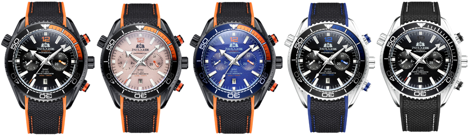 HTB16NWddvWG3KVjSZPcq6zkbXXar Men Automatic Self Wind Mechanical Canvas Rubber James Bond 007 Style Orange Blue Multifunction Date Month Sport Watch