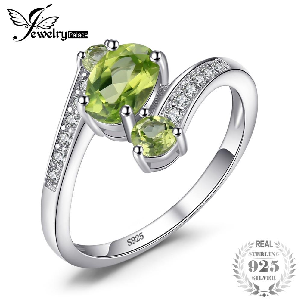 2c2eba22593 JewelryPalace 925 1.1ct Natural Verde Peridot de Prata Esterlina 3 Pedra  Oval Anel de Aniversário de Moda Presente Para As Mulheres Finas Jóias