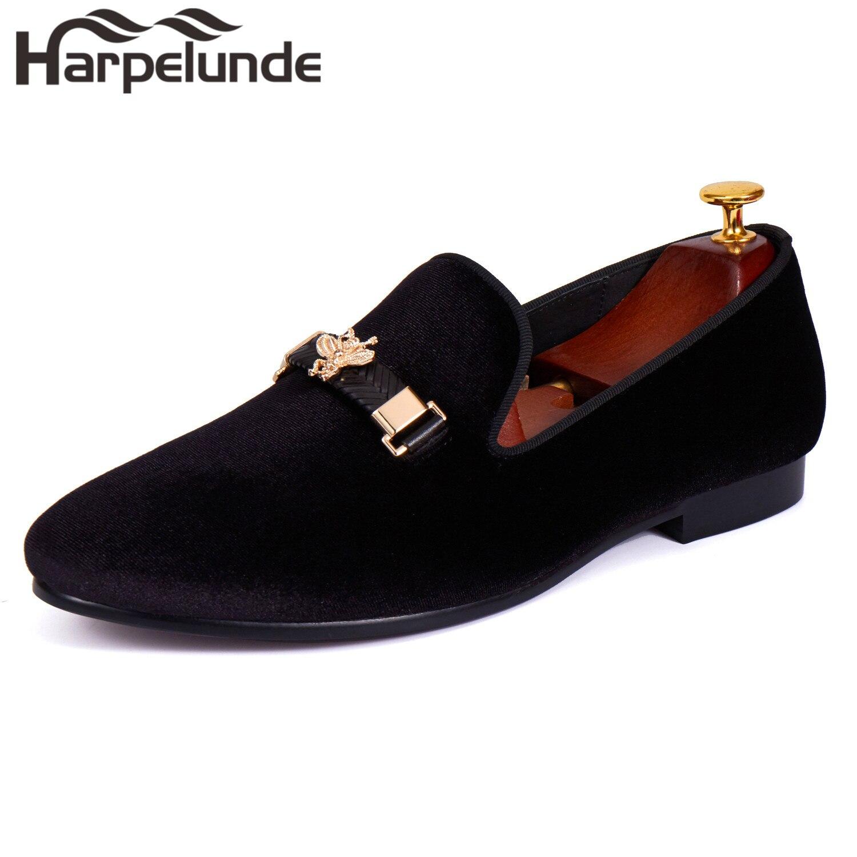 Harpelunde Buckle Strap Men Dress Wedding Shoes Black Velvet Loafer Flats Size 6-14