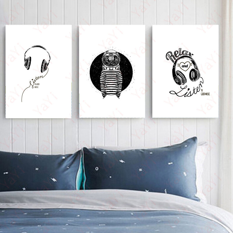 Black And White Headset Canvas Painting Music Art Decor