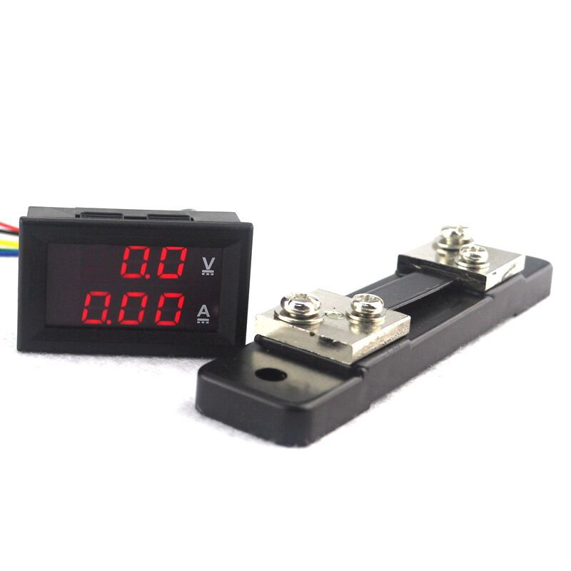 <font><b>DC</b></font> <font><b>0</b></font>-100V/50A Red LED Display Current Voltage Detector Monitor <font><b>DC</b></font> Voltmeter Ammeter with 50A Shunt Resistor image