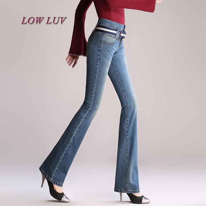 2 Retro Skinny Vaqueros Pantalones Cintura Campana Bottom 4 Mujeres 1 Elástico Con Mujer Alta Slim Estilo Denim 3 Cinturón Bell w0Tftw5q