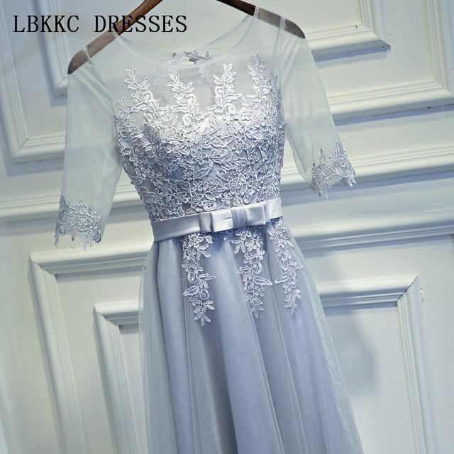 Short   Prom     Dresses   Half Sleeve Gala Jurken Tulle Appliques Vestido De Festa Grey   Prom     Dress   Women Evening   Dress   Knee Length