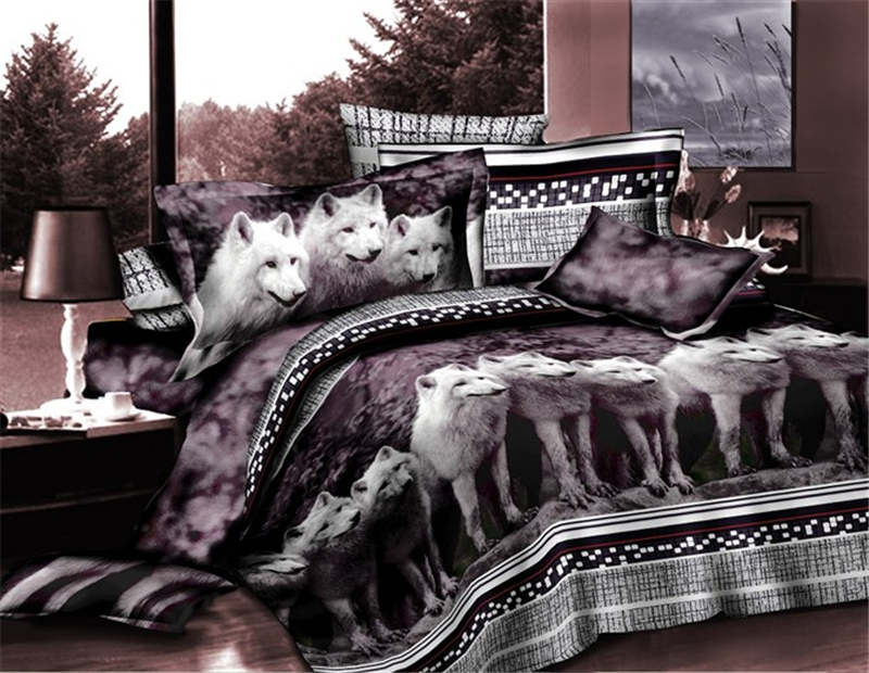 Hot Wolves Animal Printed Bedding Set Full Queen Size Bedspreads Bed Covers Sheets S Children Bedroom Decor 4 5 Piece