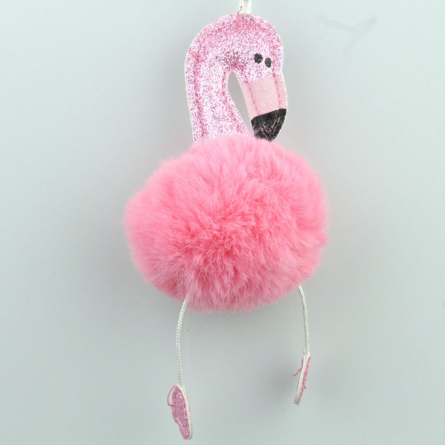 Flamingo bonito Brilho Pom Pom Keychain Encantador Fofo Falso Cadeia Animal Chave Bola De Pêlo de Coelho Mulheres Saco Chave Do Carro anel YSK38
