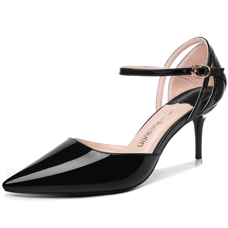 ФОТО Women's Summer 2017 Black Pink Patent Pu High Thin Heels Party Ankle Strap Buckle Girl Lady Pumps Shoes