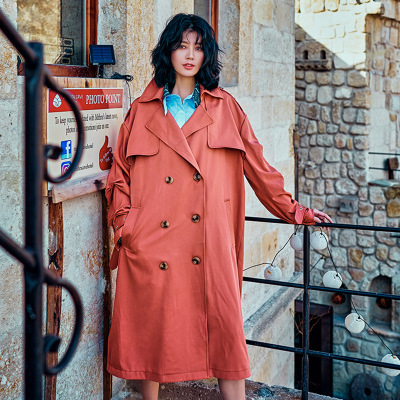 Simple ! 2018 M178 New fashion design big size S M loose female coat high street style pure orange color women's trench YYFS blu pepper new orange women s size small s junior ribbed crochet blouse $38