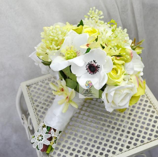 Handmade Wedding Floral Bridal Bouquet Bride Bouquet Green White ...