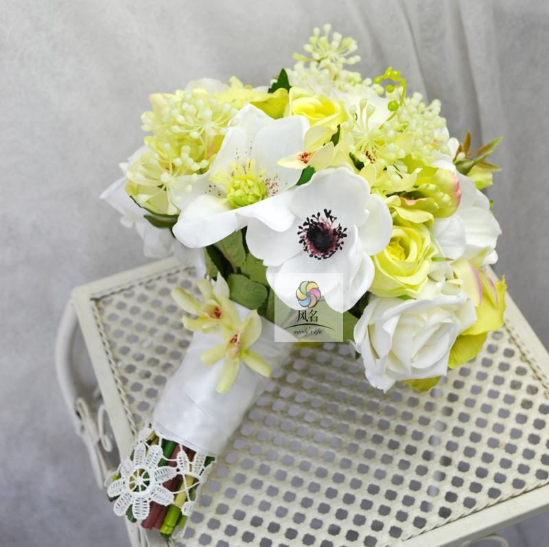 Handmade Wedding Floral Bridal Bouquet Bride Bouquet Green White Artificial Anemone Flowers Hand Holding Flower Hom Decorative