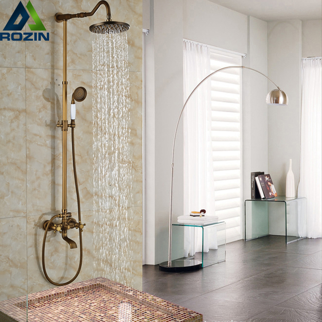 Dual Handles Retro Brass Shower Faucet Taps Wall Mounted Rainfall ...