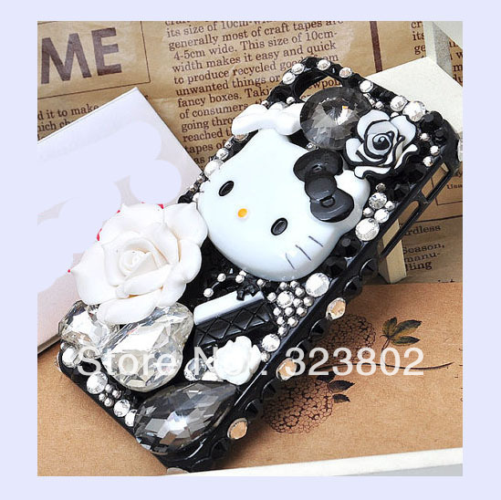 Handmade Fashion Cell Phone Case Cover For iPhone 4 4s 5, Bow Hello Kitty Flower Bag Rhinestone Crystal Gems Decoration