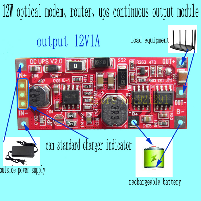 все цены на 2pcs/lot! 12W 12V1A optical dodem router UPS module DC DC Converter Boost Step-up Module diy Li-lon LiPo lithium battery charge онлайн