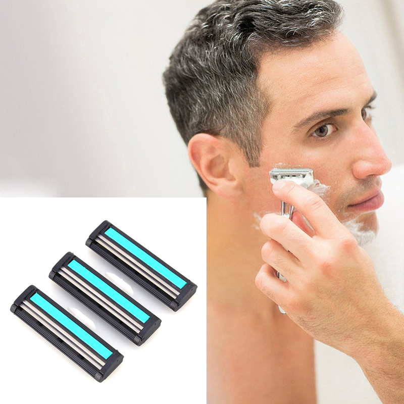 1pcs Men Handle Shaving Razor Replaceable Straight Safety Razor Holder Shave Supplies With 12pcs Metal Men's Shaving Razor Blade