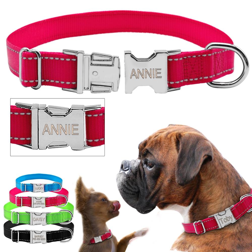 Didog Gepersonaliseerde Halsband Reflecterende Nylon Honden Halsbanden Aangepaste Honden Naamplaatje Gegraveerd voor Gratis