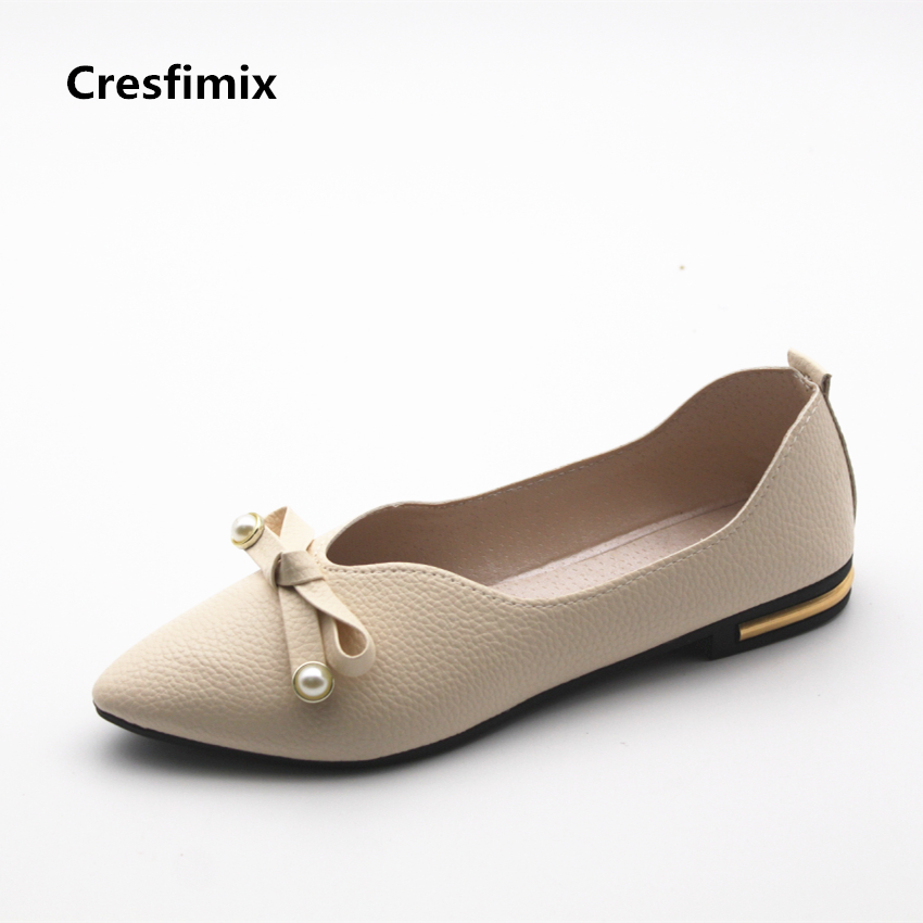 Cresfimix women fashion spring & summer slip on beige flat shoes lady casual soft & comfortable white shoes cute crystal shoes cresfimix women cute spring