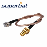 Superbat SMA Female Jack Bulkhead Straight To CRC9 Male Plug Right Angle Pigtail Cable RG316 Rf