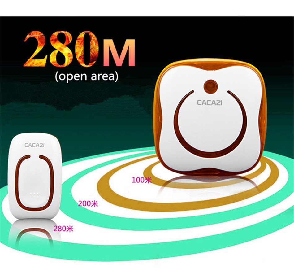 9809-2 Ringtones AC 110-240V 280M Remote Control 1 Transmitter+2 Receivers Waterproof Button Elderly Pager Wireless Doorbell рюкзак picard 9809 113 023 ozean page 2