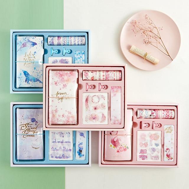 Flamingo Bullet Journal ของขวัญกล่องชุดเกาหลี Freshness ของขวัญนักเรียนเครื่องเขียนโน๊ตบุ๊ค