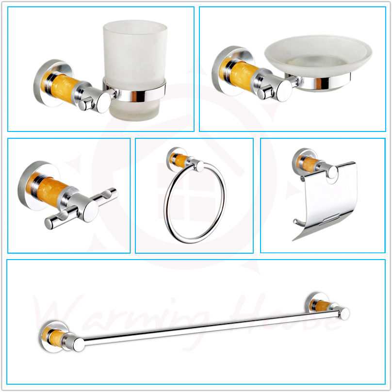 Free Shipping Luxury Chrome Bathroom Accessories Set Kit,Yellow Crystal Style,Bath Hardware Set,6pcs For Bathroom Toilet Product luxury abs chrome plated toilet paper holder roller rectangle convenience durable wc bathroom accessories high quality vt606 z4