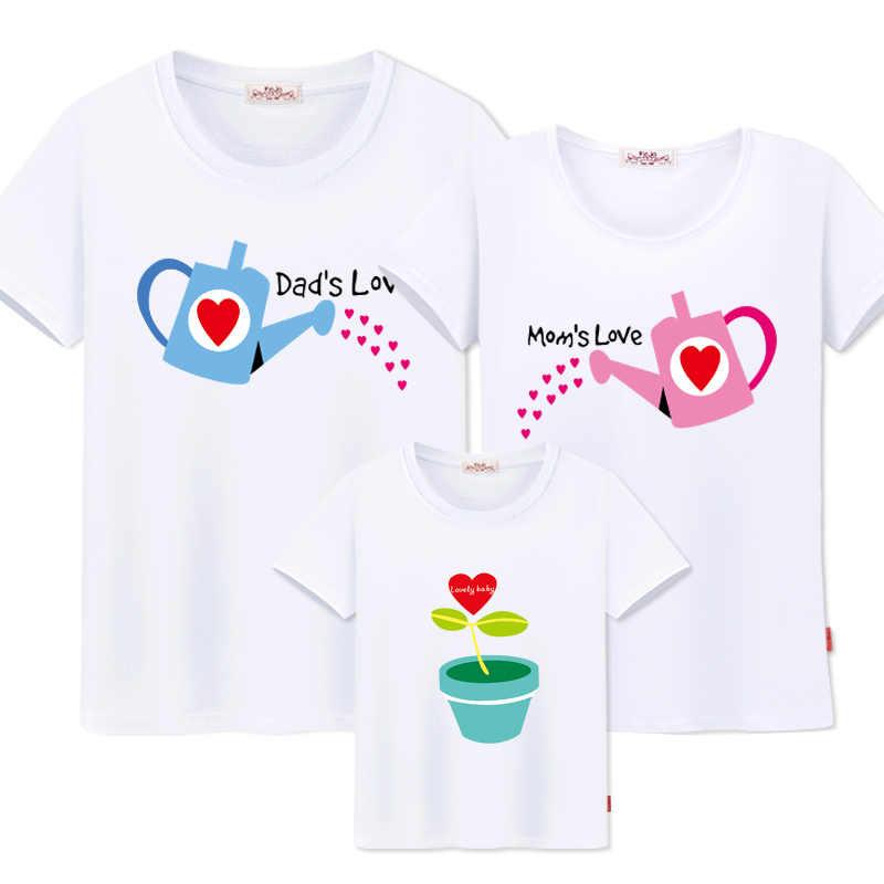 สำหรับครอบครัวแม่และลูกสาวเสื้อผ้าผ้าฝ้ายผ้าฝ้ายเสื้อยืดพ่อ SON เด็กสาวเสื้อผ้า Family Matching Outfits