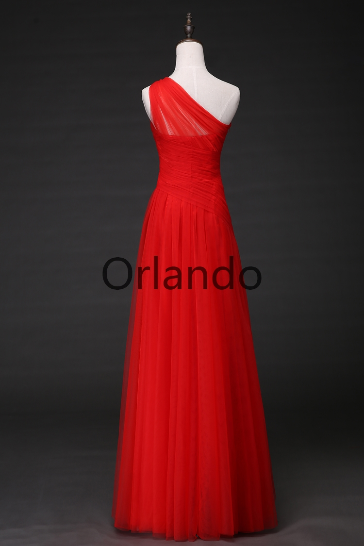 New Arrival Real Evening Dresses Red Special Occasion Dress Long Bride Gown Sexy One Shoulder Tulle Ball Prom Party Formal Dress