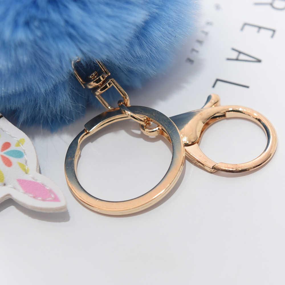 ... Fluffy Fur Ball Cute Alpaca Keychain Leather Animal Keyring Charm  Chaveiros Artificial Rabbit Fur Pompom Key ... 30909a07e