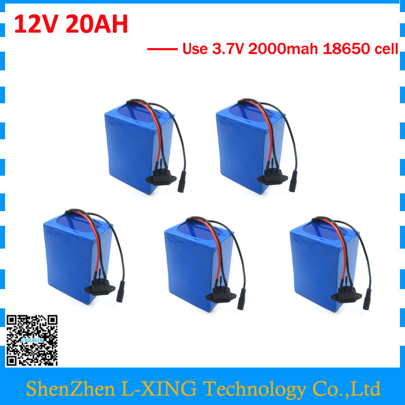 Free customs fee Wholesale 5pcs/lot 12V 20AH battery Lithium ion battery 12 v 20ah with 3A Charger 12v battery 20ah 20A BMS free customs fee 51 8v 20ah lithium battery 52 v 20ah battery 52v li ion battery use 3 7v 2500mah cell with 30a bms 2a charger