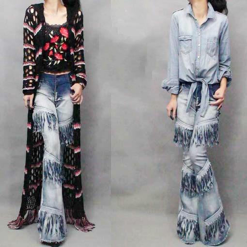 Women Jeans Top Fashion Cotton Medium Mid 2017 New Woman Jeans Modern Locomotive Layered Tassels Grind Retro Pants Female inc new black striped lace women s medium m mock 2 fer layered blouse $69 049