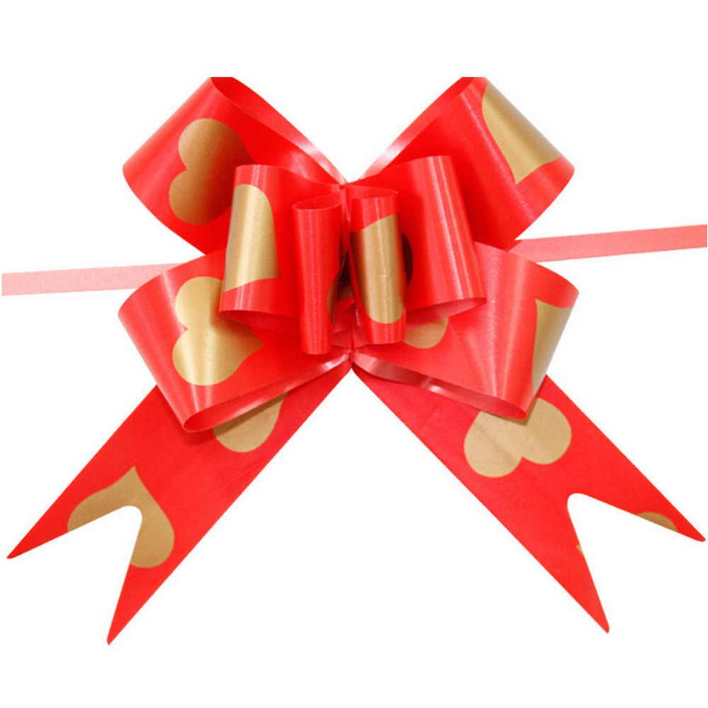 10PCS 선물 포장 리본 결혼 방 사랑 하트 인쇄 큰 활 나비 Bowknot 파티 웨딩 자동차 장식