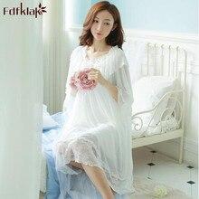 Modelo mulheres camisola de algodão nova marca senhoras sleepwear noite vestido de princesa camisola lace oco out doce roupa de dormir