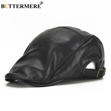 BUTTERMERE Leather Flat Caps Men Black Casual Duckbill Hats Adjustable Genuine Leather Driving Caps Spring Autumn Luxury Berets