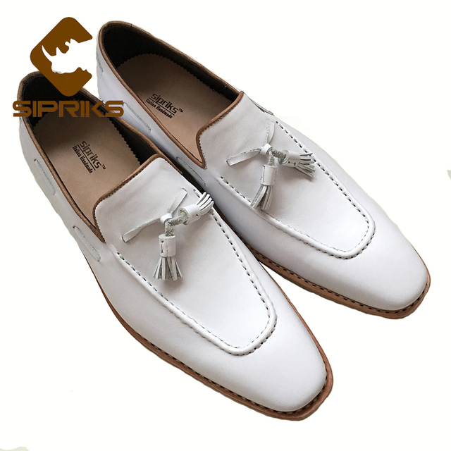 7112ebb1d86a Sipriks Luxury Mens Bespoke Goodyear Shoes Slipon Dress Shoes Italian Male  White With Tassel Loafers Shoes Mens Designer Loafers