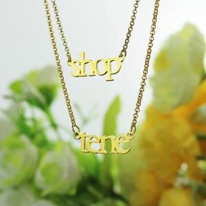 Image 3 - Ailin Groothandel 18K Plated Gold Sterling Zilver 925 Aangepaste Naam Ketting Dubbele Ketting Ketting Kerst Moeder Sieraden Geschenken