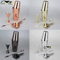 Bar Set: Silver/Copper/Gold/Black Plated Shaker Barware Set 4 Pieces Bartender Kit Include Shaker, Jigger,Strainer& Spoon