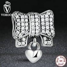 VOROCO Auténtica Plata de Ley 925 Del Corazón Del Nudo Pulsera Charm Fit Original amp Collar DIY Accesorios S244