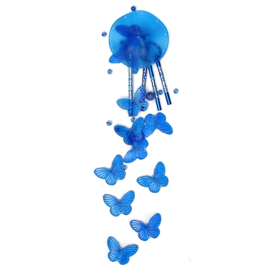 Wind chime sound tubes Butterfly Feng Shui windchimes House Decoration, Blue