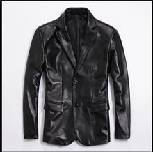 Frete grátis. plus tamanho da marca clássico masculino jaqueta de couro, 100% genuína pele carneiro casual ternos de negócios, casaco de escritório macio