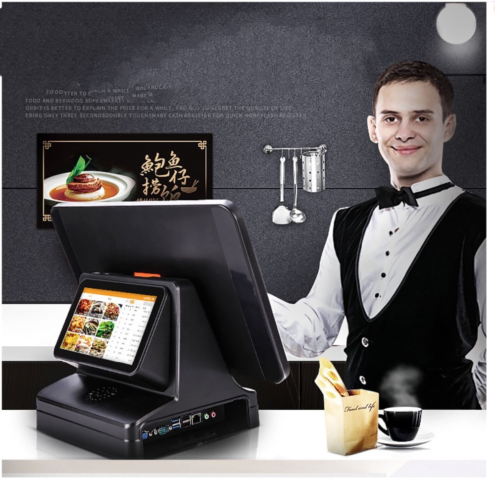 15.6 Inch Touch Screen Pos System /touch Screen Ordering System With 7inch Double Screen
