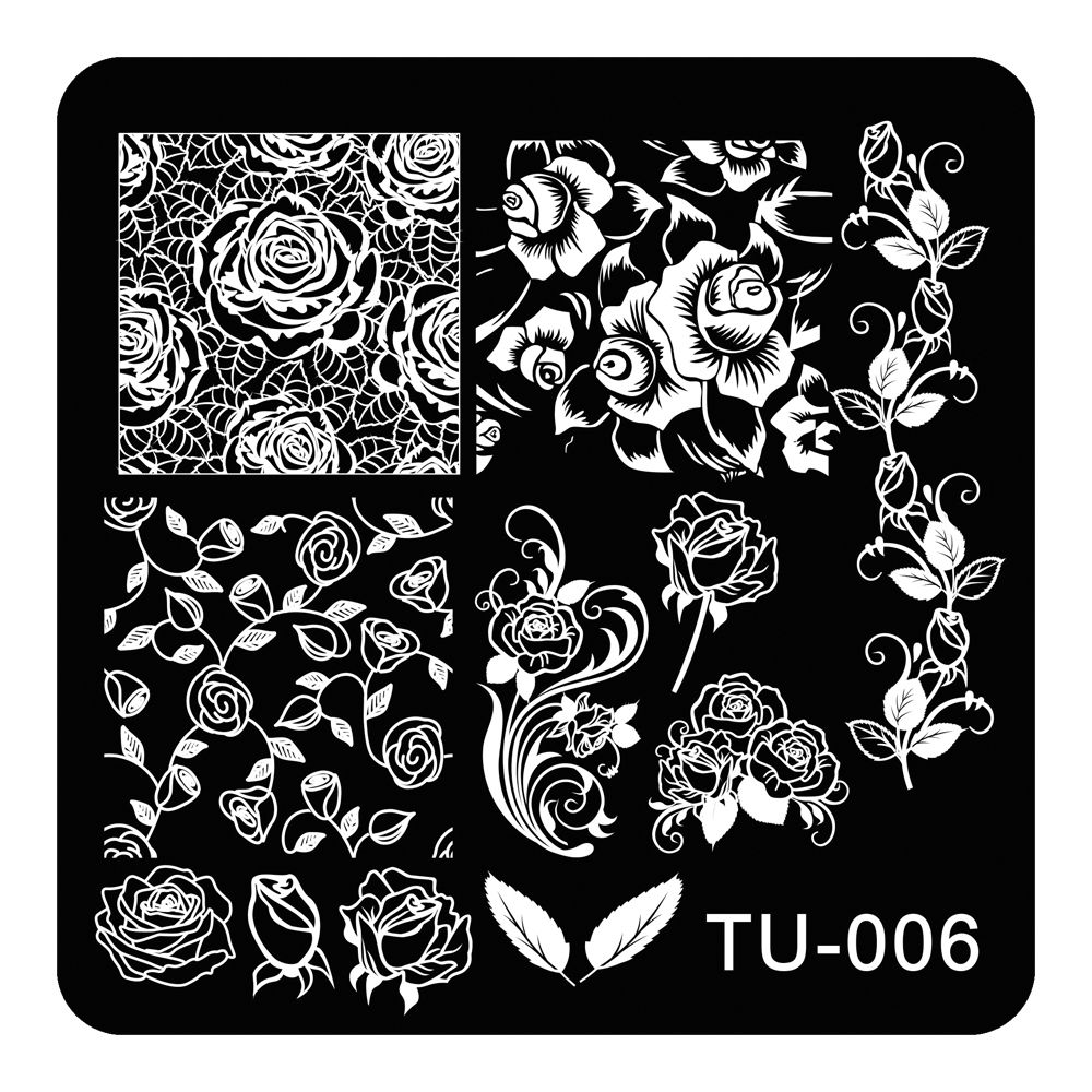 Beautiful Nail Art Stamping Plates Rose Flowers Vine Designs Stainless Steel Polish Template 1pc Stencils For Woman Nails TU-006