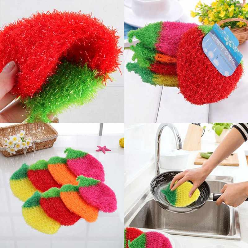 Fruit Dish Scrubber Sponge Clean Non-scratch Strawberry Bowl Pan Dish Washing Cleaning Cloth Super Absorbent Home Kitchen Tool