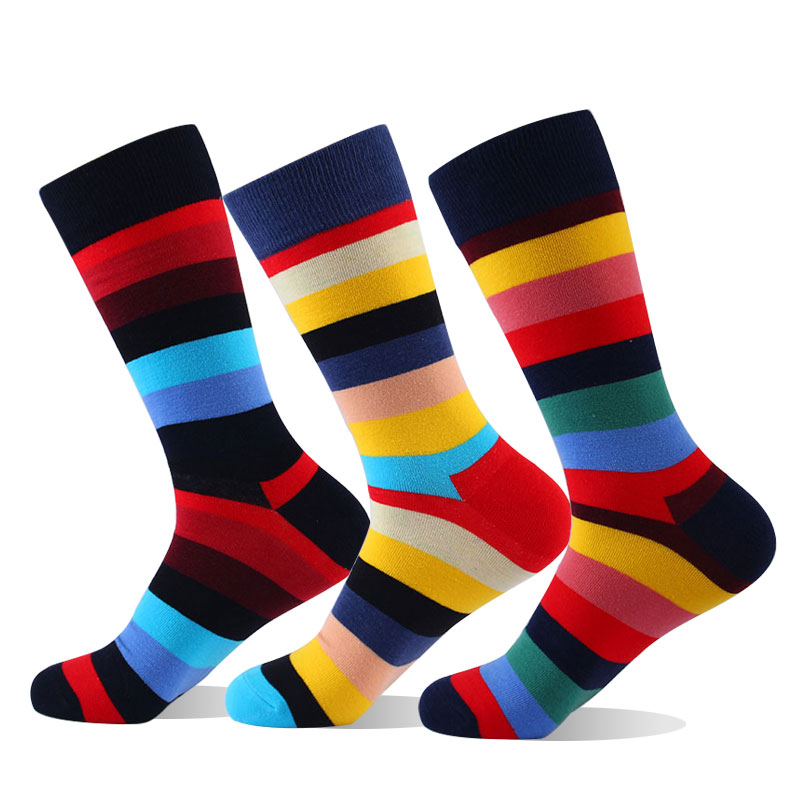 Moda Socmark Brand 2019 Fashion Long Socks Men Combed Cotton New Colored Striped Funny Socks Wedding Business Happy Socks Gift in Men 39 s Socks from Underwear amp Sleepwears