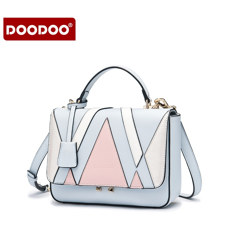 DOODOO Women Handbag Patchwork Tote Bag Female Shoulder Crossbody Bags Ladies Artificial Leather Top-handle Bag Tassel 2 Colors women bag set top handle big capacity female tassel handbag fashion shoulder bag purse ladies pu leather crossbody bag